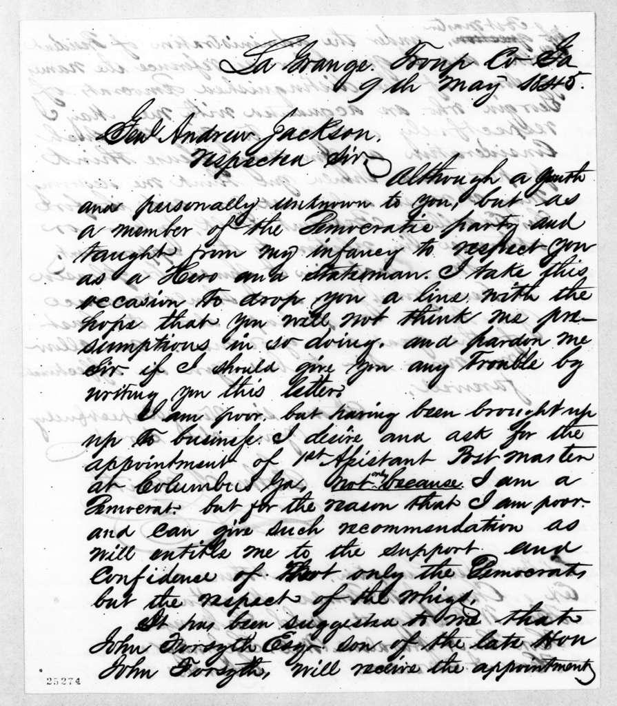 John T. Smith to Andrew Jackson, May 9, 1845