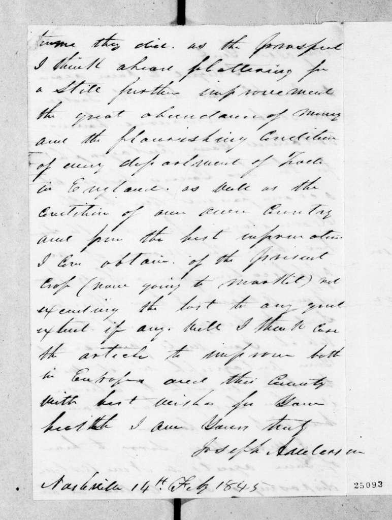 Joseph Anderson to Andrew Jackson, February 14, 1845