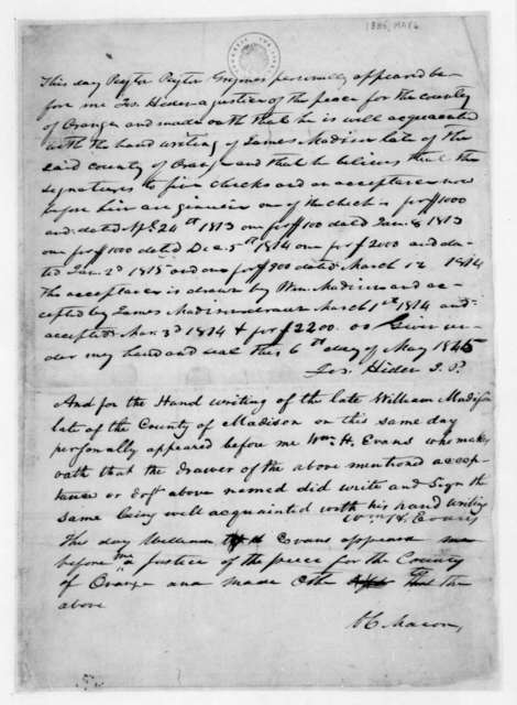 Joseph Hider, May 6, 1845. Deposition - Also signed by V. C. Macon.