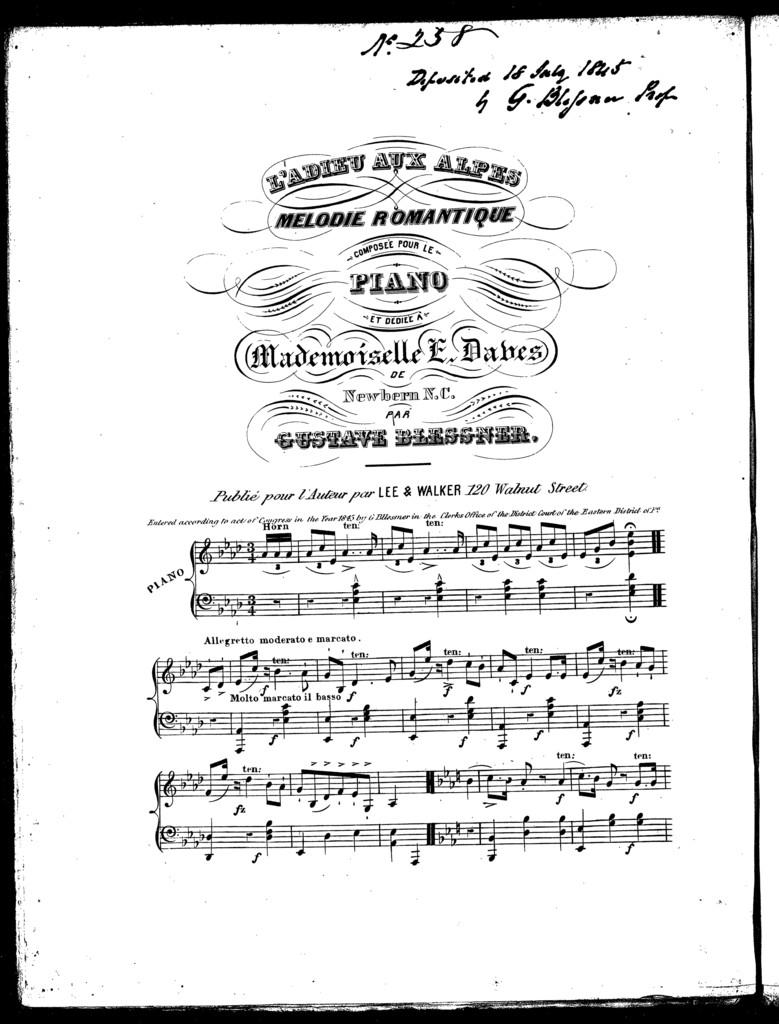 L'adieu aux Alpes, melodie romantique