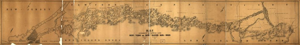 Map exhibiting the experimental and located lines for the New-York and New-Haven Rail-Road.