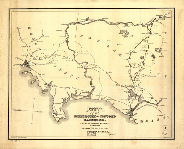 Map of the Portsmouth and Concord Railroad, shewing its connection with other railroads.