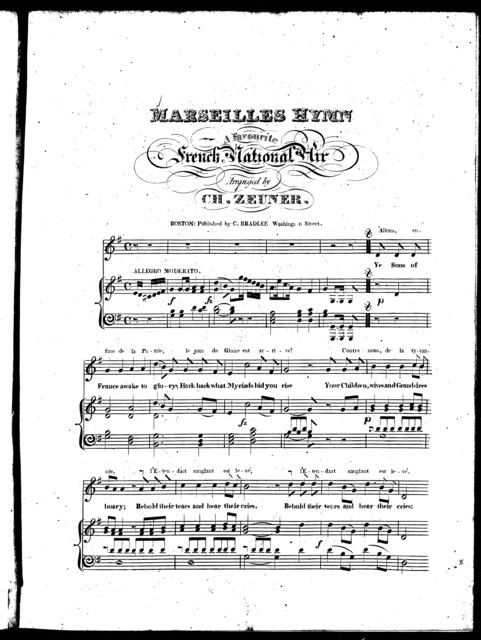 Marseilles hymn, a favourite French national air