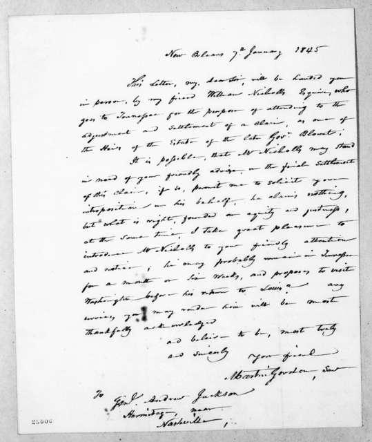 Martin Gordon to Andrew Jackson, January 7, 1845