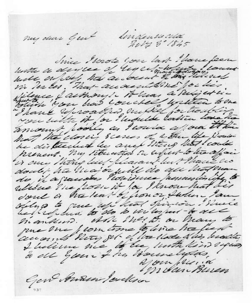 Martin Van Buren to Andrew Jackson, February 3, 1845