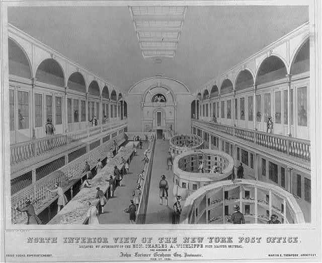 North interior view of the New York post office, located by authority of the Hon. Charles A. Wickliffe Post Master General and arranged by John Lorimer Graham Esq. Postmaster, Feb. 1st 1845