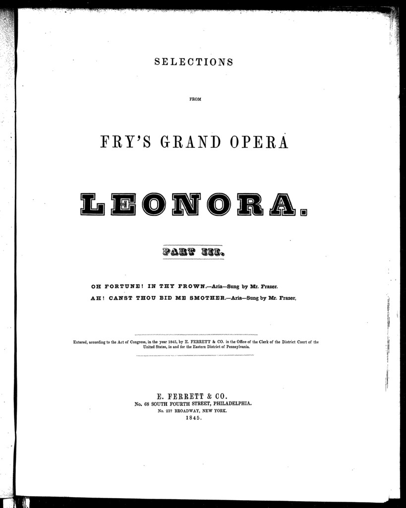 Oh fortune! In thy frown, aria [from] Leonora, part III