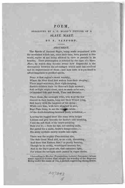 Poem, suggested by A. F. Biard's picture of a slave mart. by S. Sanford. Boston [1845?].
