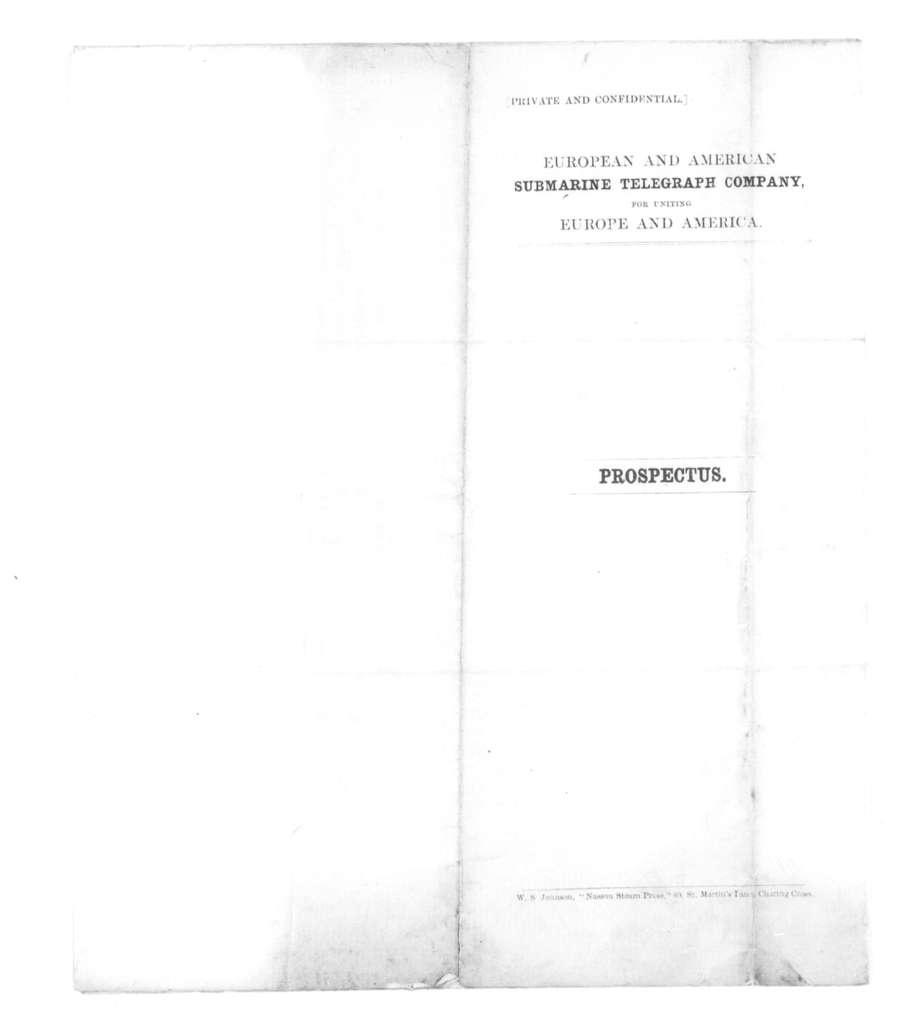 Prospectus for the European and American Submarine Telegraph Co.