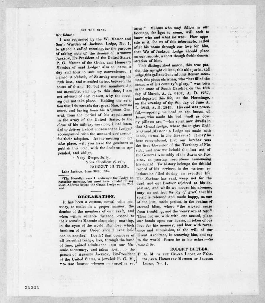 Robert Butler, July 5, 1845