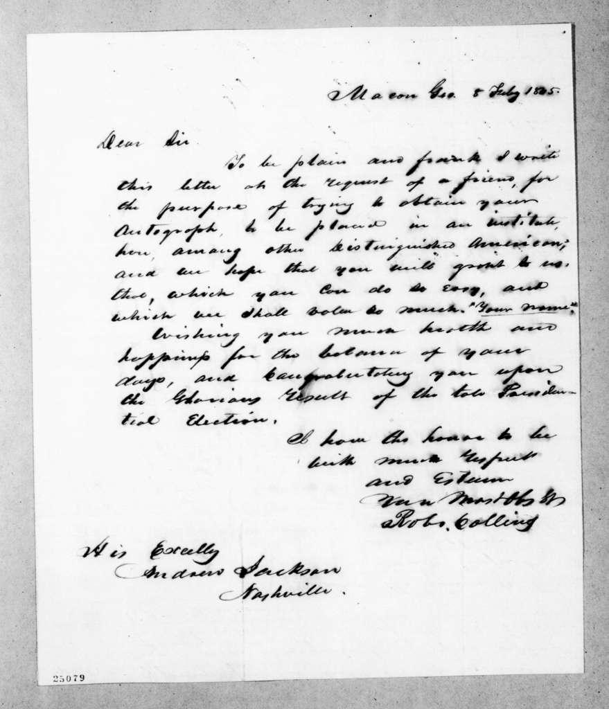 Robert Collins to Andrew Jackson, February 8, 1845