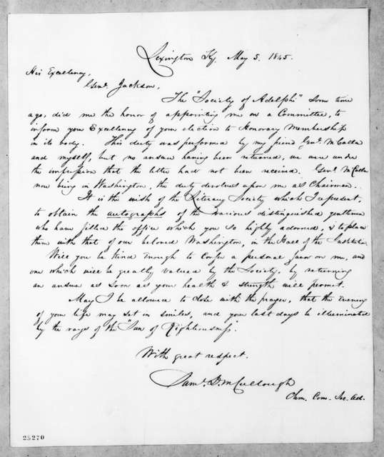 Samuel D. McCullough to Andrew Jackson, May 5, 1845
