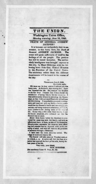 Samuel Houston, June 16, 1845