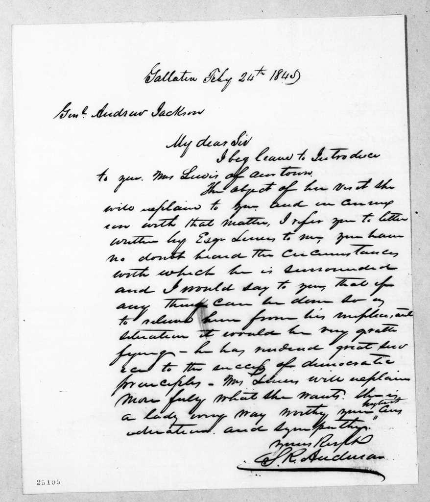 Samuel Read Anderson to Andrew Jackson, February 24, 1845