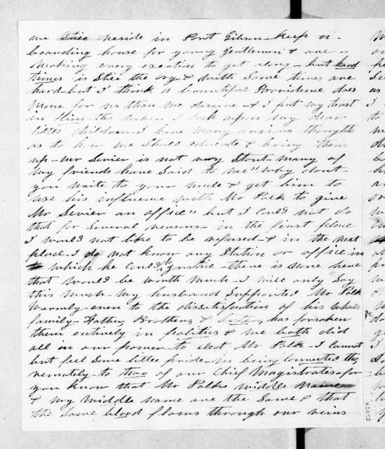 Sarah Knox Sevier to Andrew Jackson, February 7, 1845