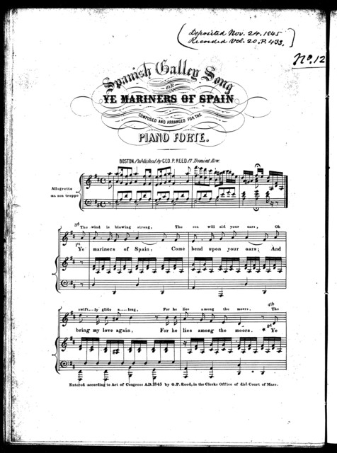 Spanish galley song, or, Ye mariners of Spain