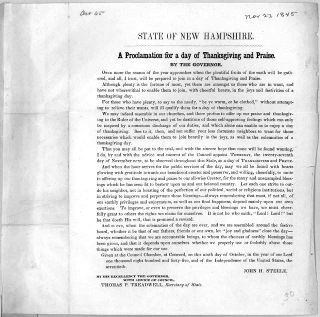 State of New Hampshire. A proclamation for a day of thanksgiving and praise. by the governor ... appoint Thursday, the twenty-seventh day of November, next, to be observed throughout this State, as a day of thanksgiving and praise ... Given at t