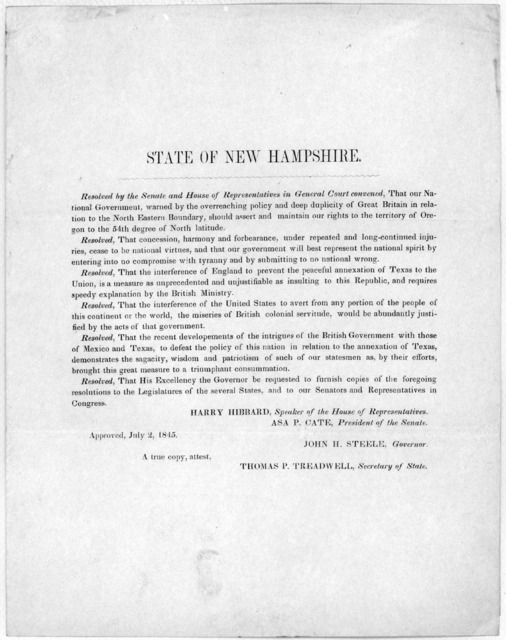 State of New Hampshire. Resolved by the Senate and House of Representatives in General Court convened, that our national government, warned by the overreaching policy and deep publicity of Great Britain in relation to the North Eastern boundary,