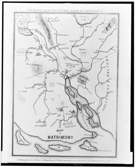 The novel & interesting game of matrimony.  Map of matrimony / Lith. & printed by J. Dainty, Philada.