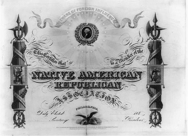 This certifies that [blank] is a member of the Native American Republican Association of Philadelphia / engraved & published by W.L. Germon, no. 80 1/2 Walnut St., Philadelphia.