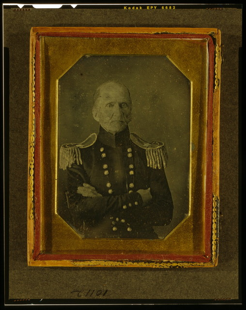 [Unidentified Army officer, possibly Brigadier General Thomas Lawson, half-length portrait, facing front, in uniform with arms crossed]