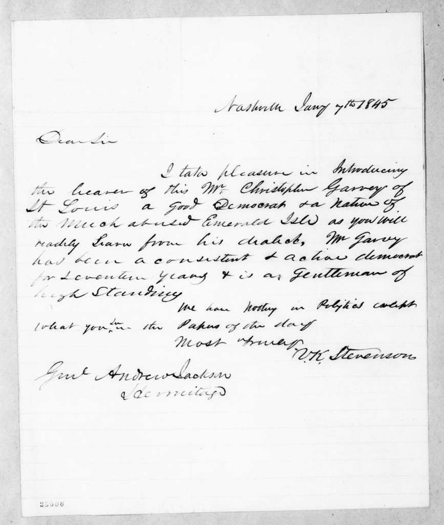 Vernon King Stevenson to Andrew Jackson, January 7, 1845