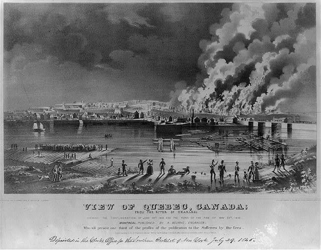 View of Quebec, Canada; from the river St. Charles; shewing the conflagration of June 28th. 1845, and the ruins of the fire of May 28th., 1845