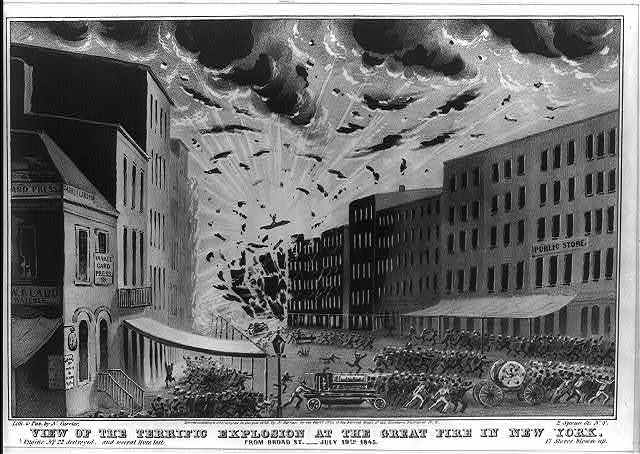 View of the terrific explosion at the great fire in New York: from Broad St.--July 19th. 1845