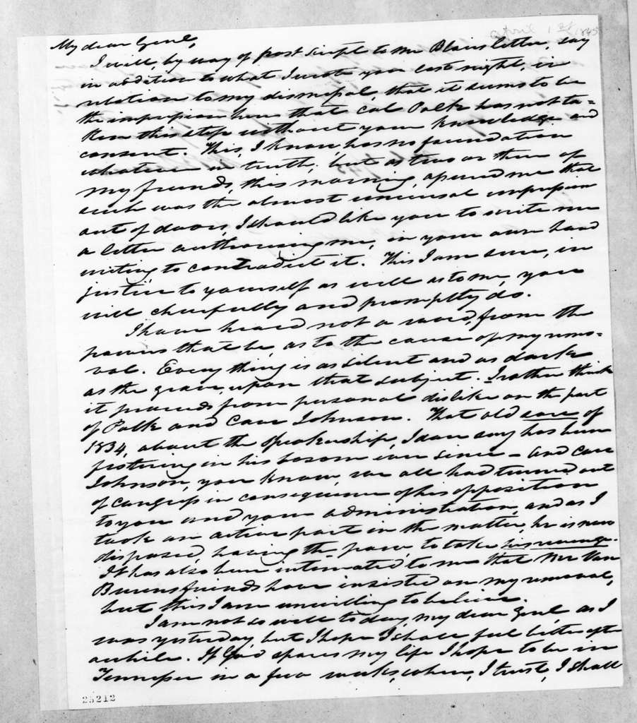 William Berkeley Lewis to Andrew Jackson, April 1, 1845