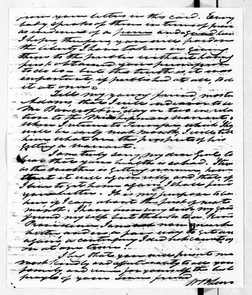 William Berkeley Lewis to Andrew Jackson, April 24, 1845