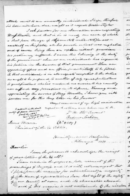 William Berkeley Lewis to Andrew Jackson, January 22, 1845