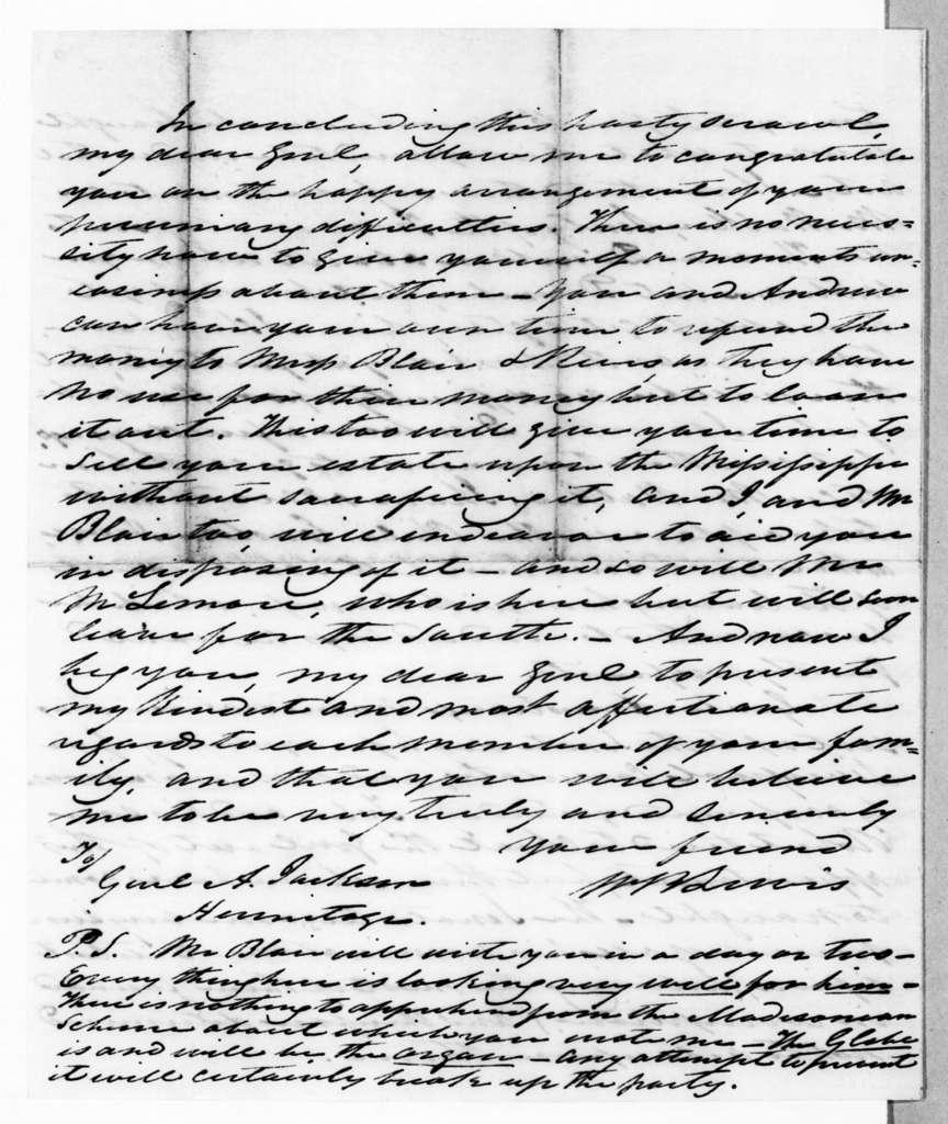 William Berkeley Lewis to Andrew Jackson, March 13, 1845