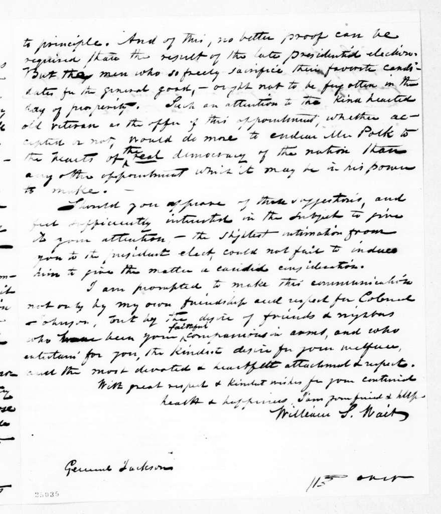 William L. Wait to Andrew Jackson, January 18, 1845