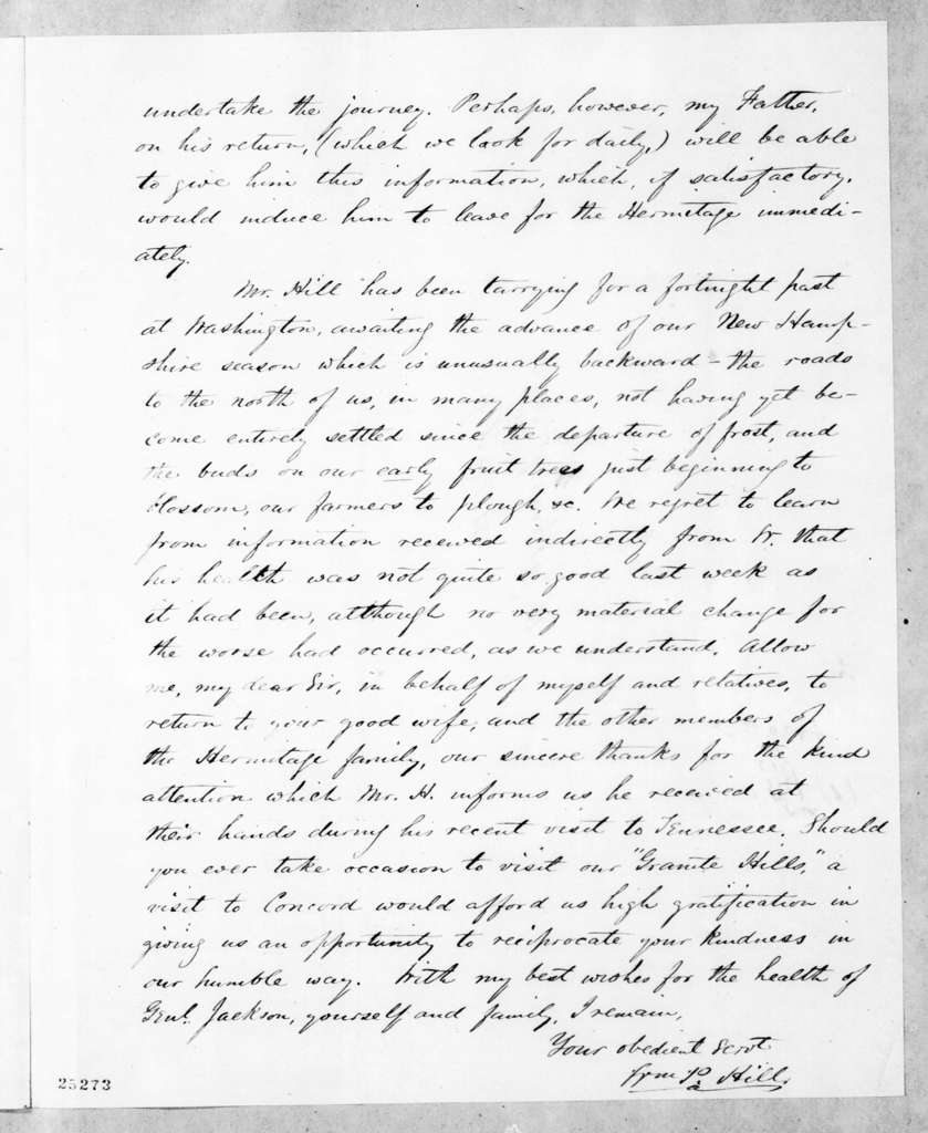William P. Hill to Andrew Jackson, Jr., May 5, 1845