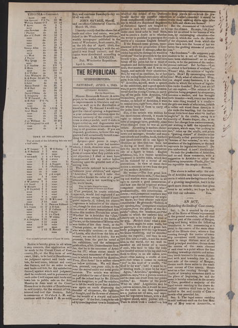 Winchester Republican, [newspaper]. April 5, 1845.