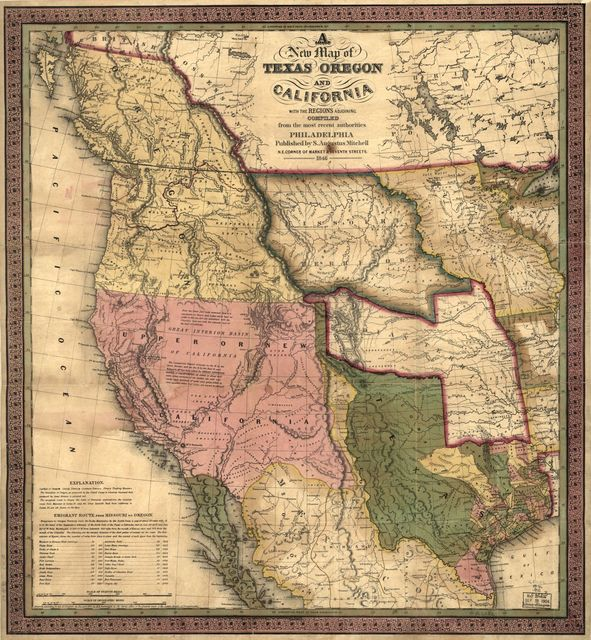 A new map of Texas, Oregon and California.