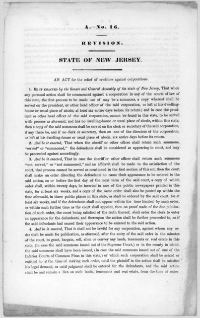 A.- No. 16. Revision. State of New Jersey. An act for the relief of creditors against corporations [1846?].