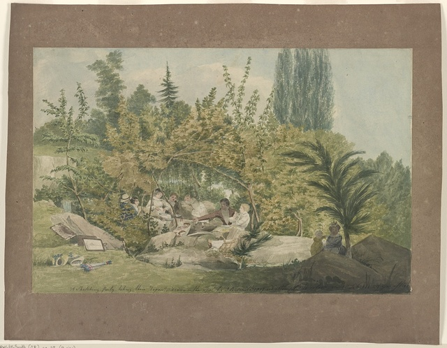 A sketching party taking their repast, drawn on the spot byJ.R. Smith 1817, and attempted to colour in 1846, 29 years after'd