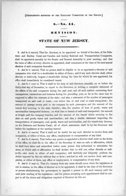 [Amendments reported by the Judiciary committee of the Senate.] S.- No. 44. Revision. State of New Jersey. [1846?].
