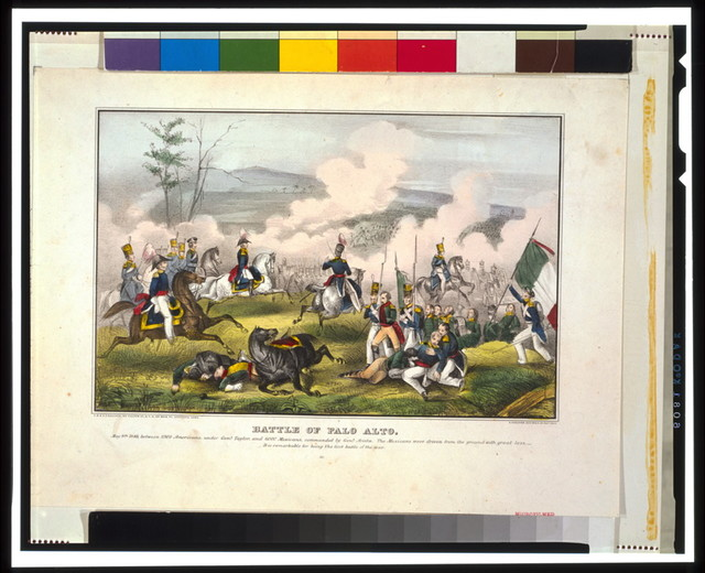 Battle of Palo Alto--May 8th 1846, between 2900 Americans, under Genl. Taylor, and 6000 Mexicans, commanded by Genl. Arista [...] / E.B. & E.C. Kellogg, Hartford, Conn. ; D. Needham, Buffalo.