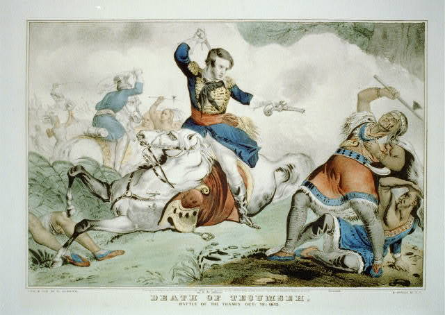 Death of Tecumseh: Battle of the Thames Oct. 18: 1813 / lith. & pub. by N. Currier.