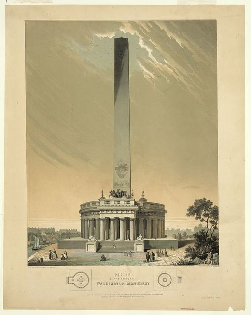 Design of the national Washington Monument / Lithogd from the original design by Robt Mills, archt, by Chs Fenderich, Washington.