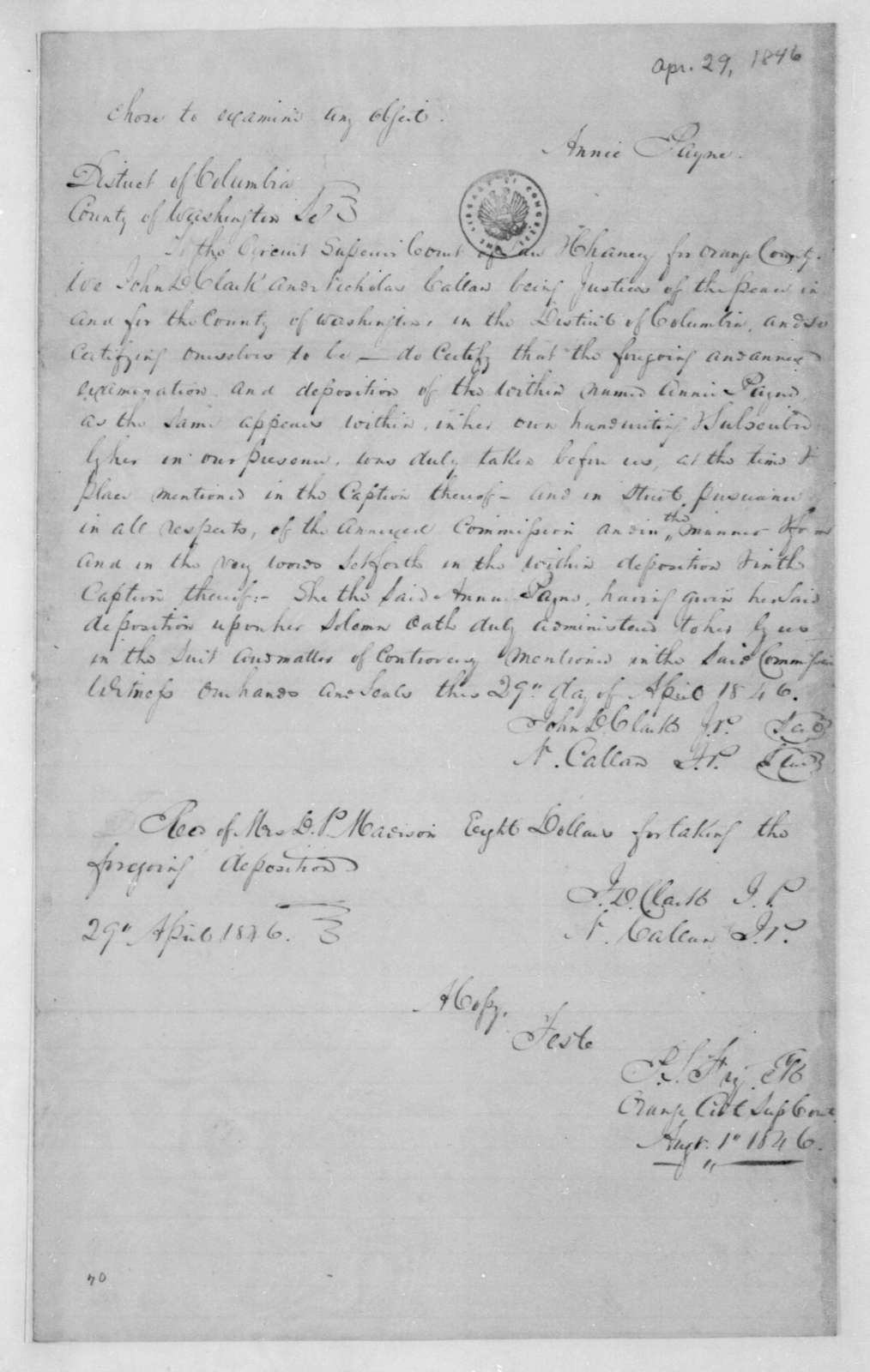 Dolley P. Madison, April 29, 1846. Certification.