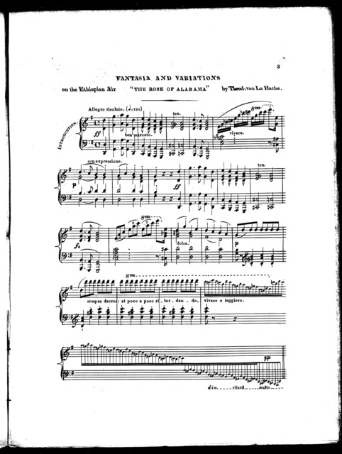 "Fantasia and variations on the Ethiopian air ""The rose of Alabama,"" op. 2"