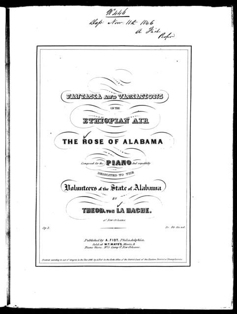 Fantasia and variations on the Ethiopian air The rose of Alabama, op. 2