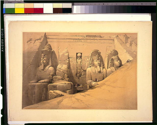 Front elevation of the Great Temple of Aboosimble Nubia / David Roberts, R.A.