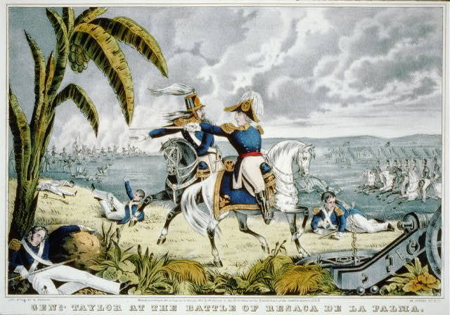 Genl. Taylor at the battle of Resaca de la Palma Capt. May receiving his orders to charge the Mexican batteries May 9th 1846.