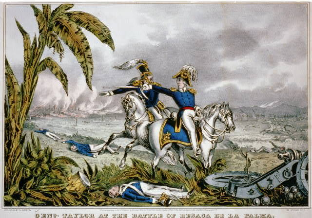 Genl. Taylor at the battle of Resaca de la Palma Capt. May receiving his orders to charge the Mexican batteries, May 9th 1846.