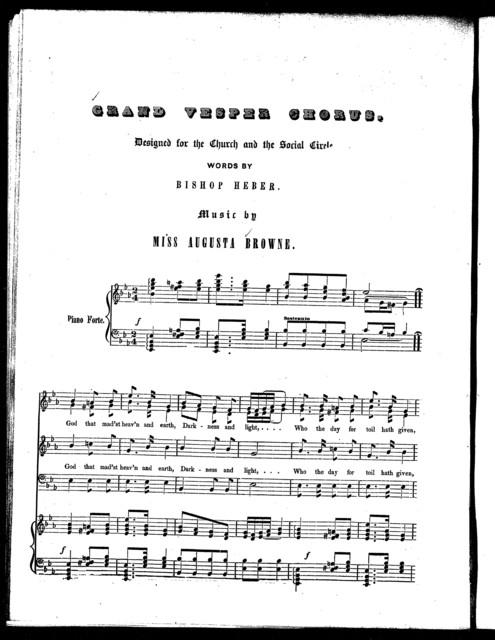 Grand vesper chorus -- Sabbath -- Begin, my soul, rejoicing -- He sees, and he believes