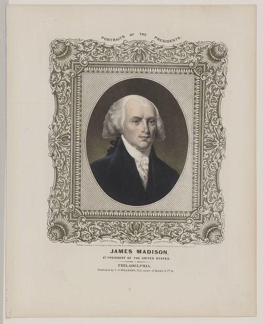 James Madison - 4th President of the United States / on stone by A. Newsam ; P.S. Duval, lith., Philada.